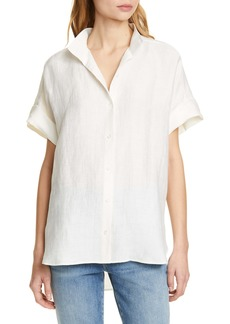 FRAME Clean Collar Linen Blend Shirt