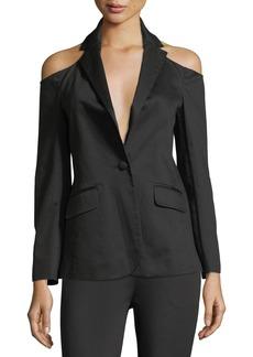 FRAME Cold-Shoulder Single-Breasted Sateen Blazer