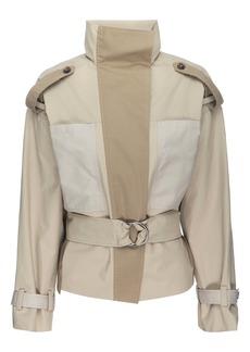 FRAME Colorblock Belted Cotton & Nylon Jacket
