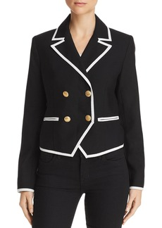 FRAME Contrast-Trim Double-Breasted Blazer