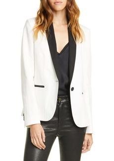 FRAME Cotton & Linen Tuxedo Blazer