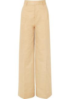 Cotton and linen-blend wide-leg pants