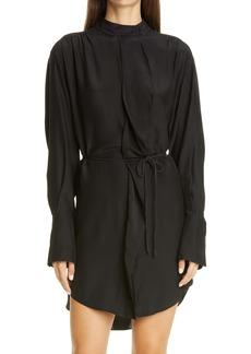 FRAME Cravat Long Sleeve Silk Mini Shirtdress