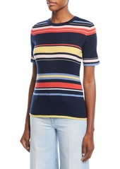 FRAME Crewneck Short-Sleeve Striped Rib-Knit Top