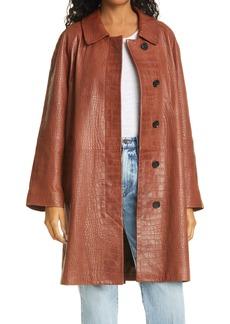 FRAME Croc Embossed Leather Coat