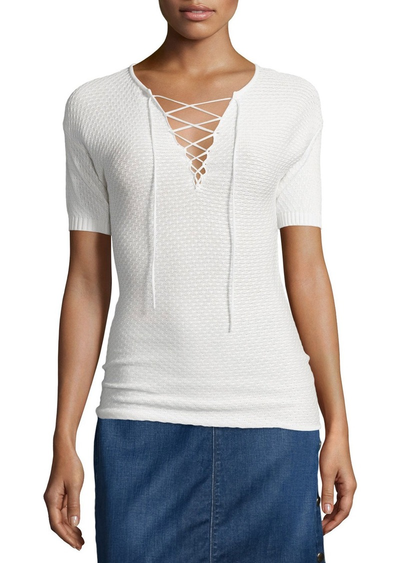 FRAME Crochet Lace-Up Top