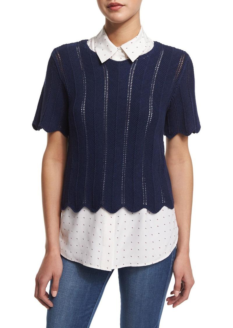 FRAME Crochet Short-Sleeve Boxy Top