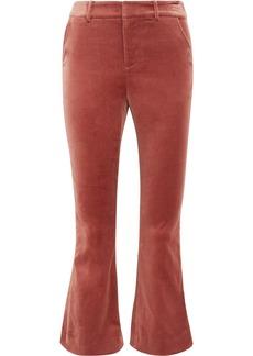 Cropped cotton-blend velvet flared pants