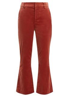 Frame Cropped kick-flare velvet trousers