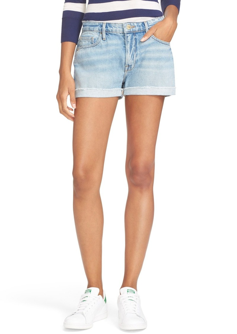 FRAME Cuffed Denim Boyfriend Shorts (Boulevard)