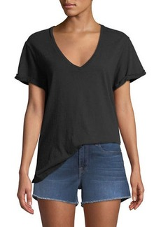FRAME Deep-V Cuffed Short-Sleeve Cotton Tee