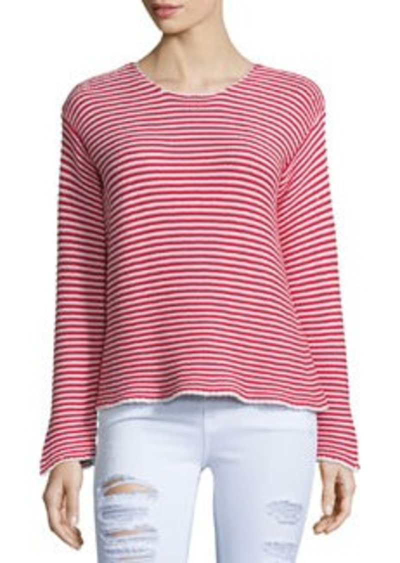 FRAME Cropped Jewel-Neck Striped Top