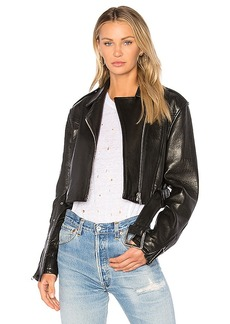 FRAME Denim Crop Moto Jacket in Black. - size M (also in L,S,XS)