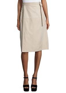 FRAME Wrap Belted Suede Skirt