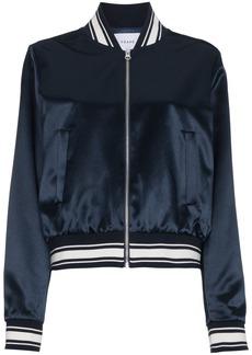 Frame Denim logo applique silk bomber jacket - Blue