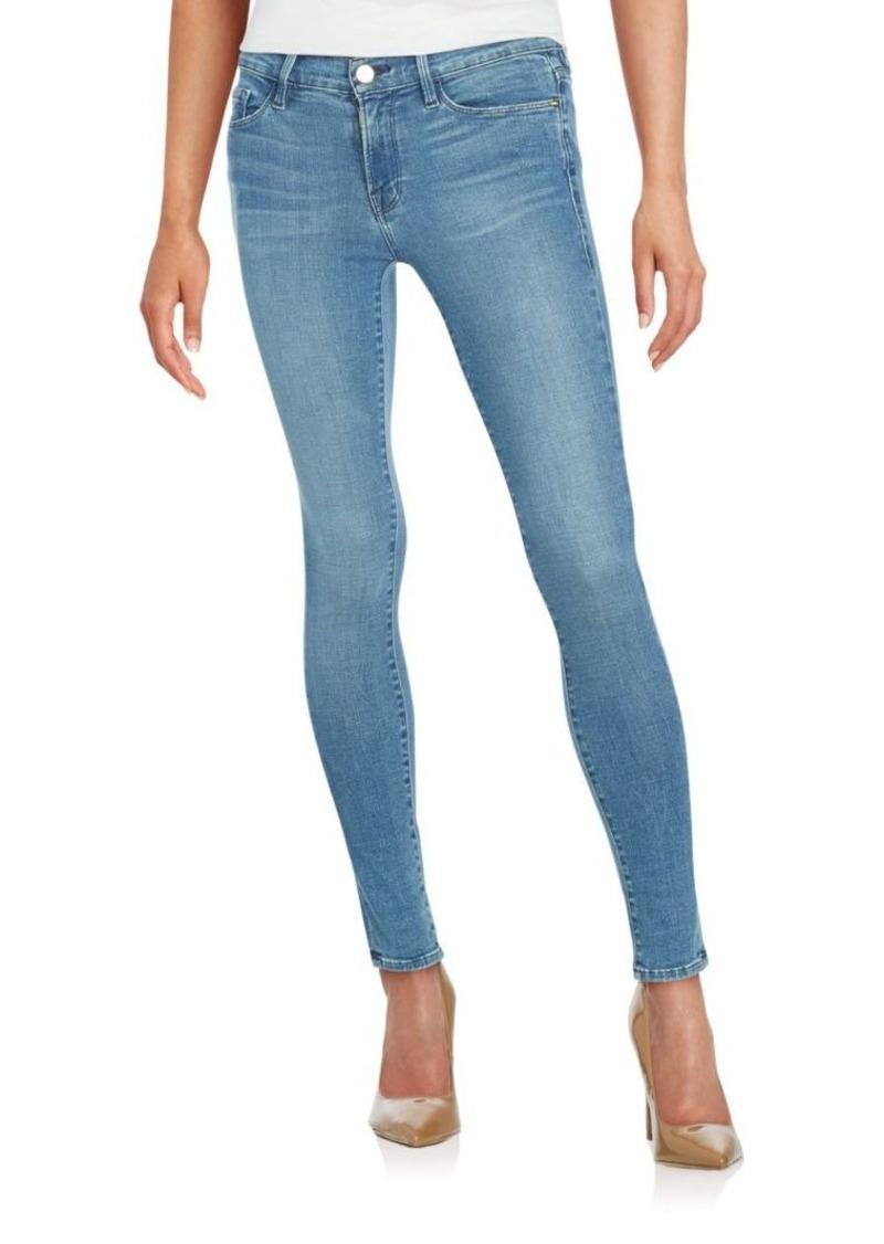 FRAME DENIM Washed Denim Skinny Jeans