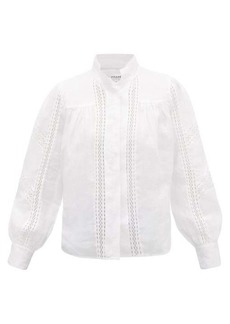 Frame Diamond lace-insert ramie blouse