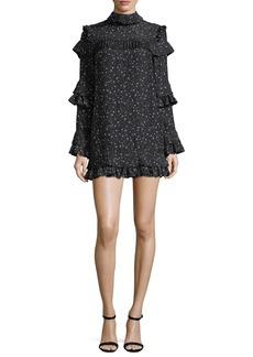FRAME Diamond-Print Mock-Neck Ruffled Silk Dress