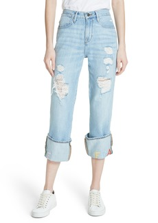 FRAME Distressed & Embroidered Straight Leg Jeans (Rydell)