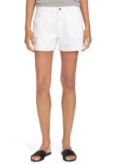 FRAME Distressed Denim Shorts (Blanc)