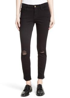FRAME Distressed Release Hem Skinny Jeans