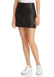 FRAME Double-Zip Leather Mini Skirt