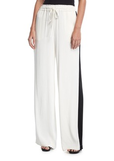 FRAME Drawstring Wide-Leg Satin Track Pants
