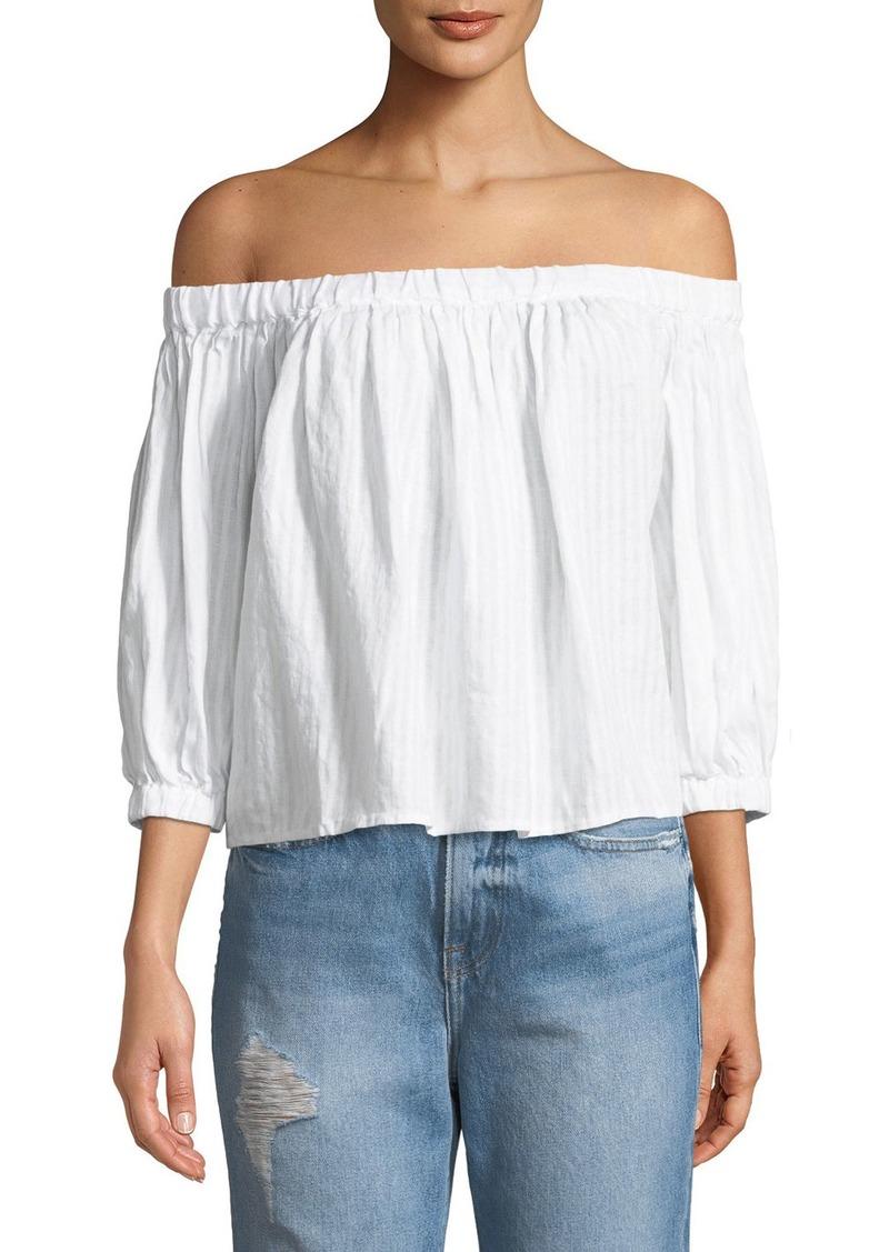 FRAME Embroidered Off-the-Shoulder Linen Top