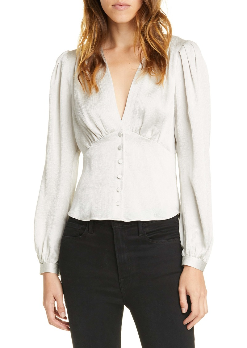 FRAME Empire Waist Hammered Silk Top (Nordstrom Exclusive)
