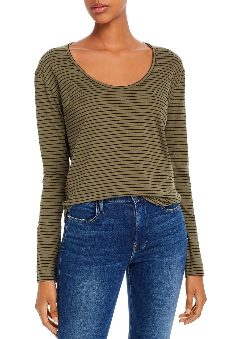 FRAME Extended-Cuff Striped Tee