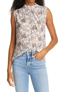 FRAME Floral Mock Neck Sleeveless Silk Blouse