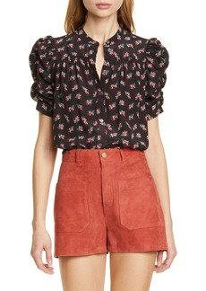 FRAME Floral Ruched Sleeve Silk Blouse