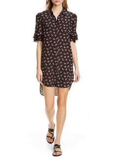 FRAME Floral Ruffle Sleeve Silk Shirtdress