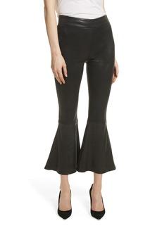 FRAME Flounce Crop Flare Leather Pants