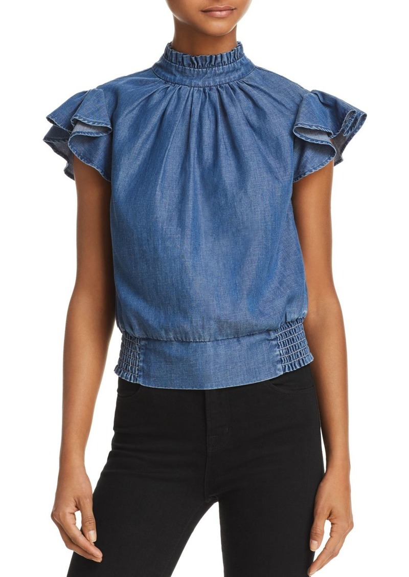 FRAME Flutter Sleeve Smocked Chambray Top - 100% Exclusive