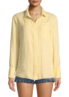 FRAME Frayed Linen Button-Down Top