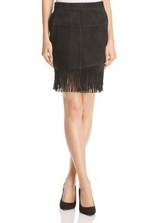 FRAME Fringed Suede Skirt