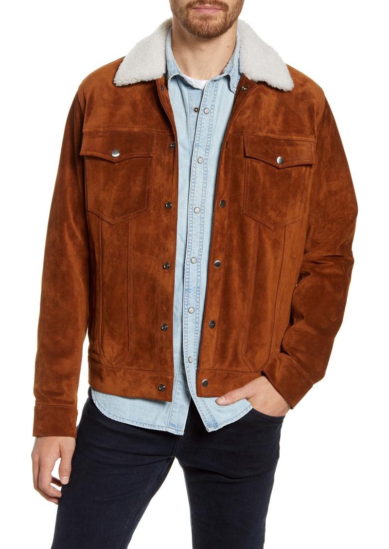FRAME Genuine Shearling Collar Suede Trucker Jacket