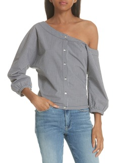 FRAME Gingham Tie Back Off the Shoulder Top (Nordstrom Exclusive)