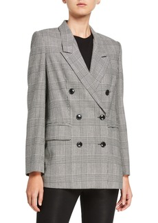 FRAME Glen Plaid Double-Breasted Blazer