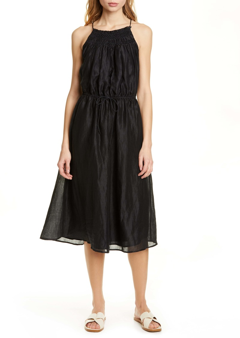 FRAME Hand Smocked Midi Dress