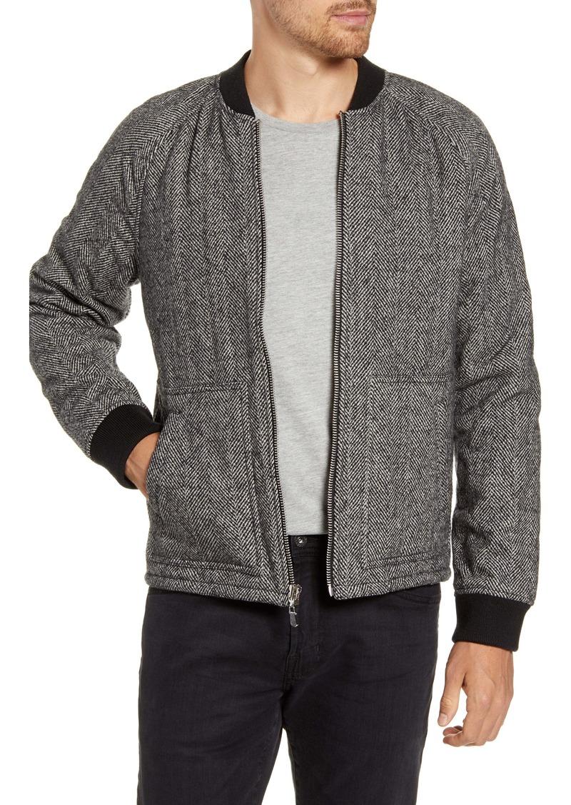 FRAME Herringbone Insulated Wool Blend Bomber Jacket