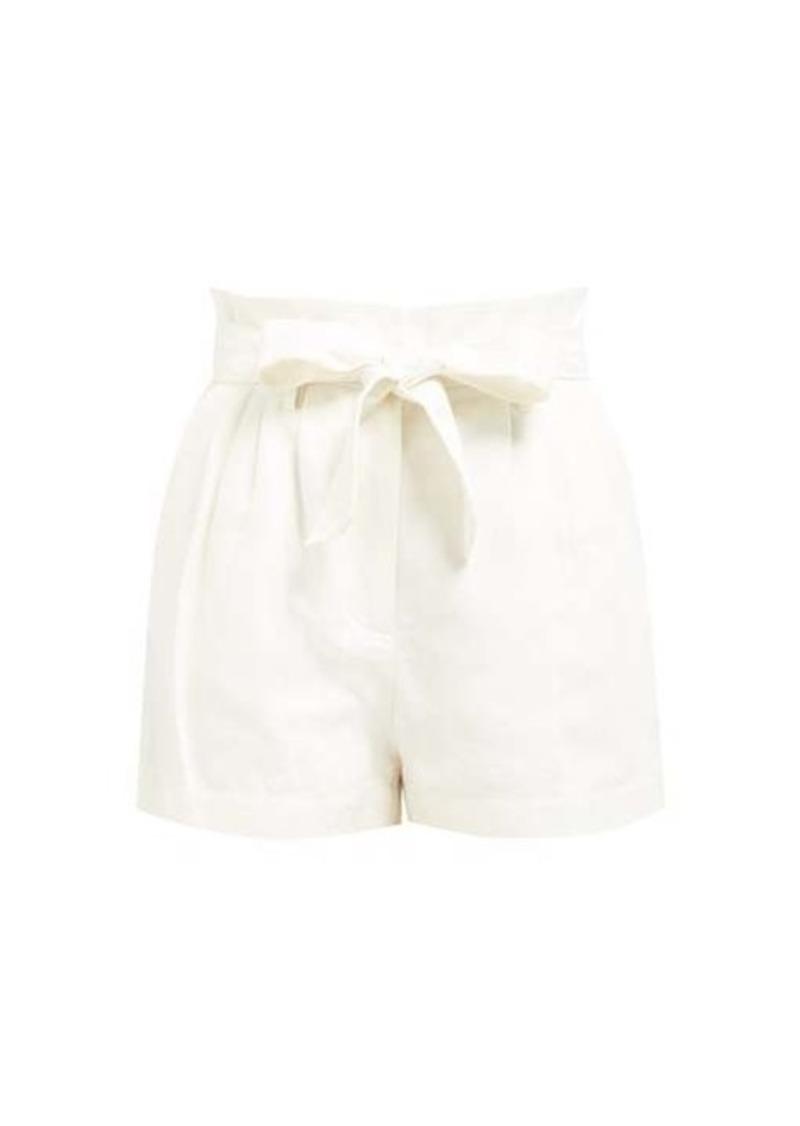 Frame High-rise linen-blend shorts