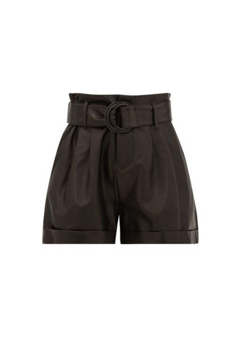 Frame High-rise paperbag-waist leather shorts