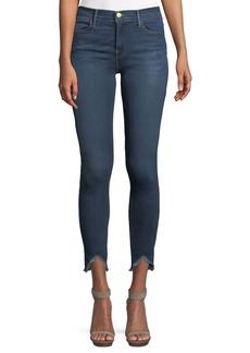 FRAME High-Rise Skinny-Leg Jeans w/ Triangle Hem