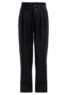 Frame High-rise wide-leg wool trousers