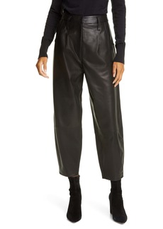 FRAME High Waist Barrel Leather Pants