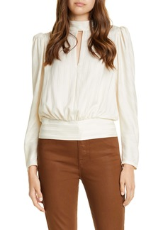 FRAME Jacquard Stripe Keyhole Silk Long Sleeve Blouse (Nordstrom Exclusive)