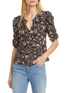 FRAME Kate Ruched Floral Silk Top (Nordstrom Exclusive)