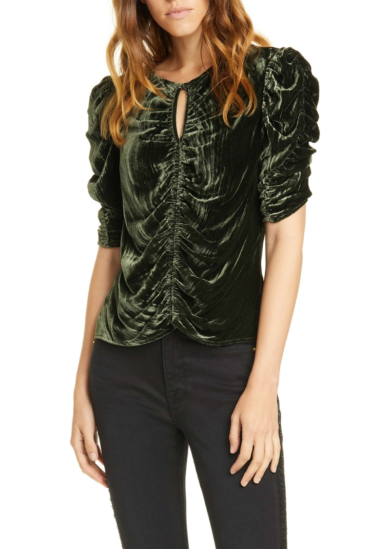 FRAME Kate Ruched Puff Sleeve Velvet Top